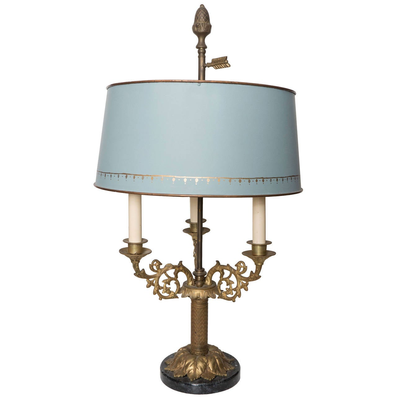 ormolu and black marble bouillotte lamp with blue tole. Black Bedroom Furniture Sets. Home Design Ideas