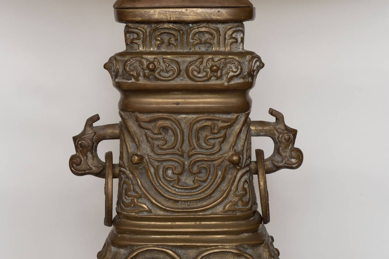 Pair Of Bronze Chinese Lamps With Wood Bases For Sale At