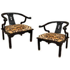 Pair of James Mont Style Asian Century Lacquered and Brass Low Chairs