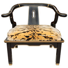 James Mont Style Asian Century Lacquered and Brass Low Chair