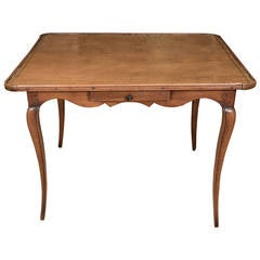 French Antique Leather Top Games Table