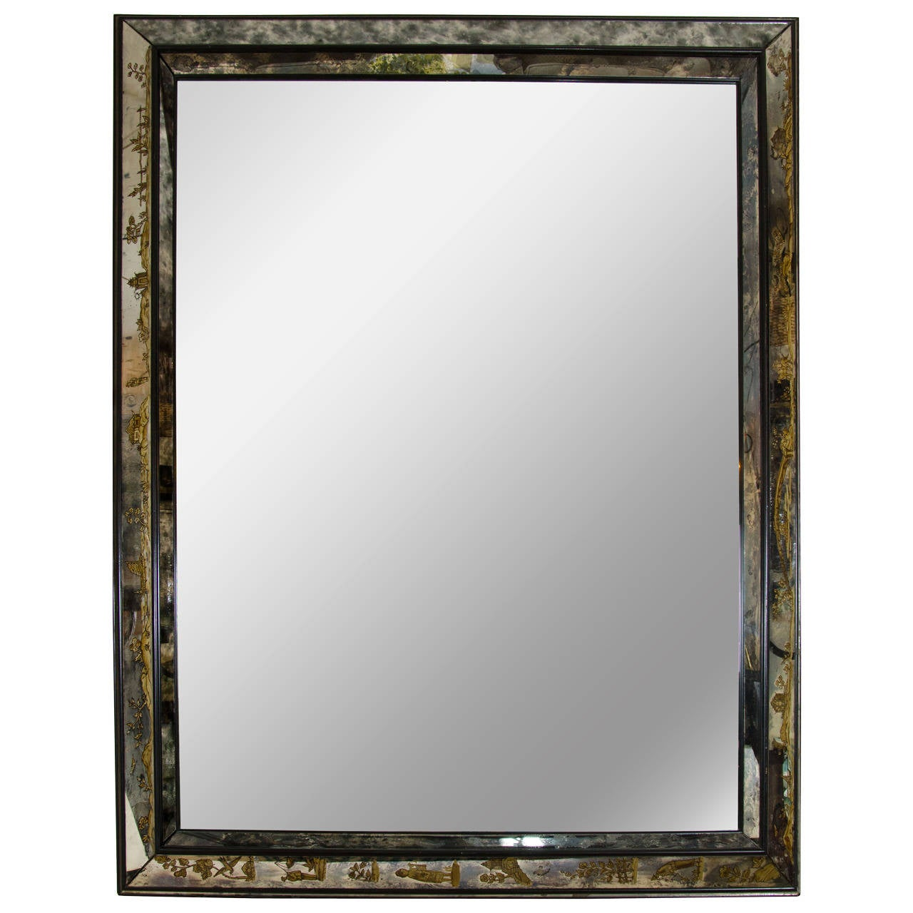 impressive asian inspired vintage eglomise mirror at 1stdibs