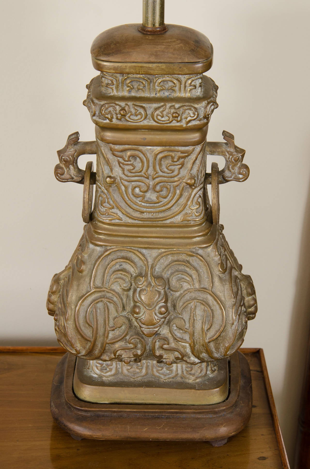 Pair Of Bronze Chinese Lamps With Wood Bases At 1stdibs