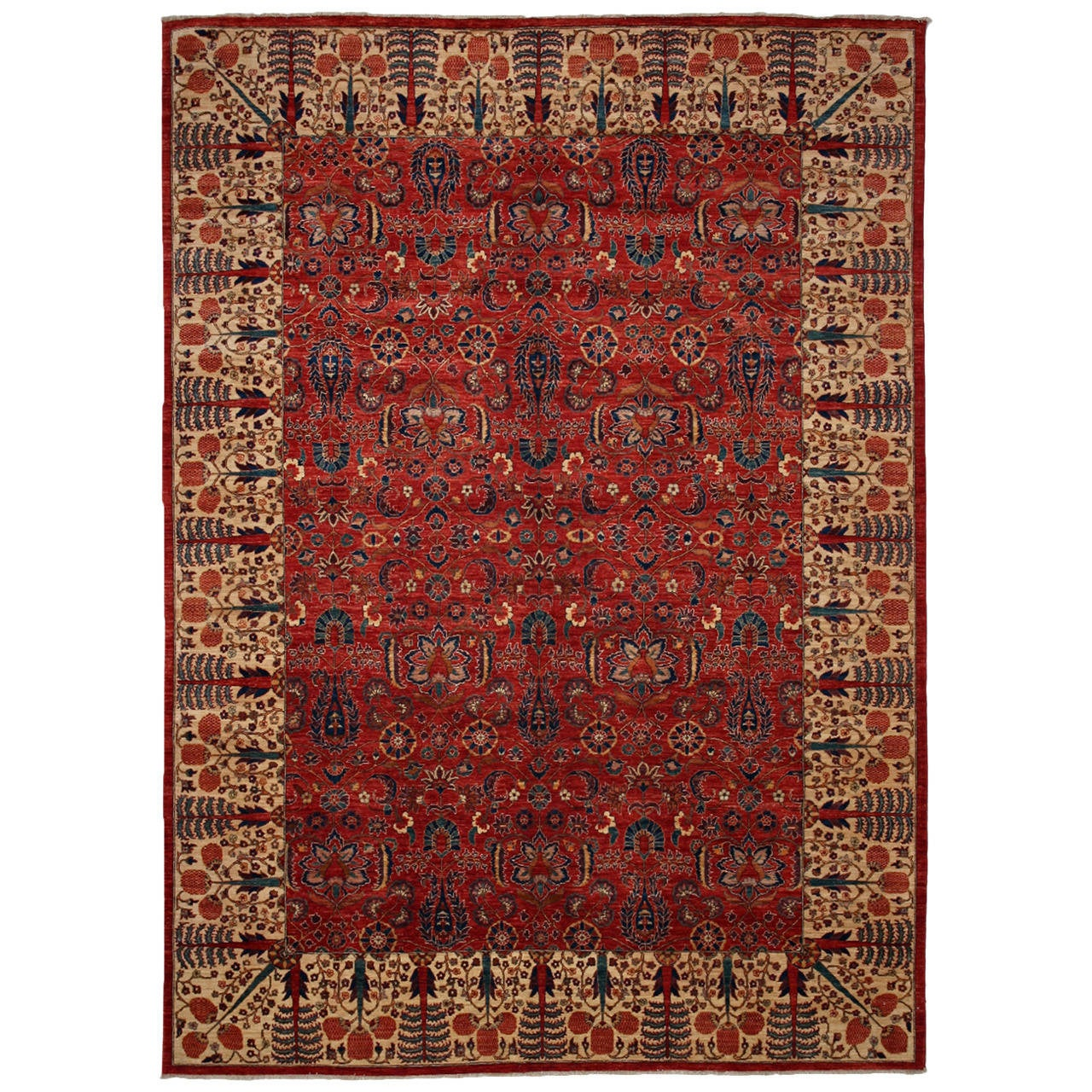 Breathtaking Large Geometric Red 10x12 Bakhtiari Persian: Ahar, Fine Oriental Rug At 1stdibs