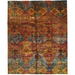 Vintage Indian Sari Silk, Hand-Knotted Rug