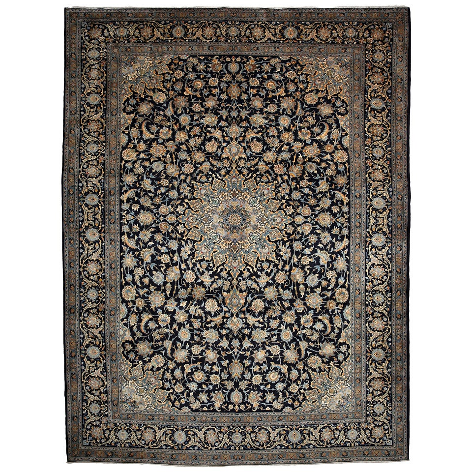 Authentic Persian Kashan Rug Hand Knotted At 1stdibs