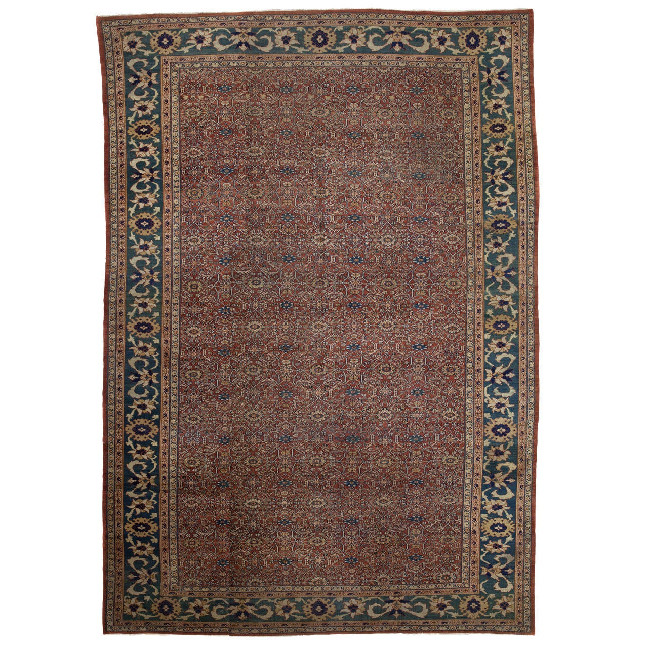 Antique Cotton Agra Rug With Abrash Circa 1900 For Sale: NW Persian Mahal Rug, Circa 1900 At 1stdibs