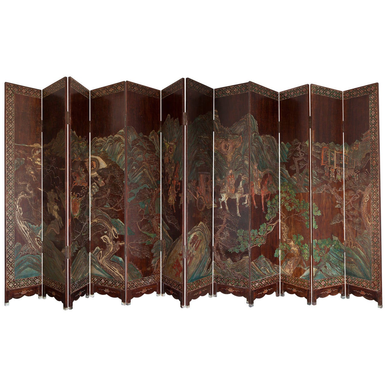 Huge and Unique 12-Panel Chinese Coromandel Double-Sided Screen