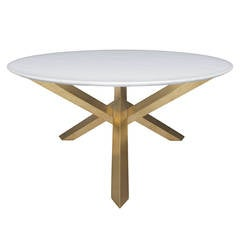 Round Dining Table with Brass Legs