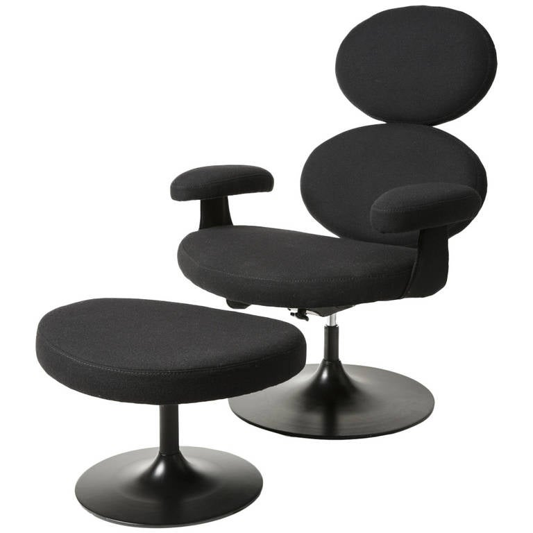 Stylish Mid-Century Adjustable Lounge Chair and Ottoman
