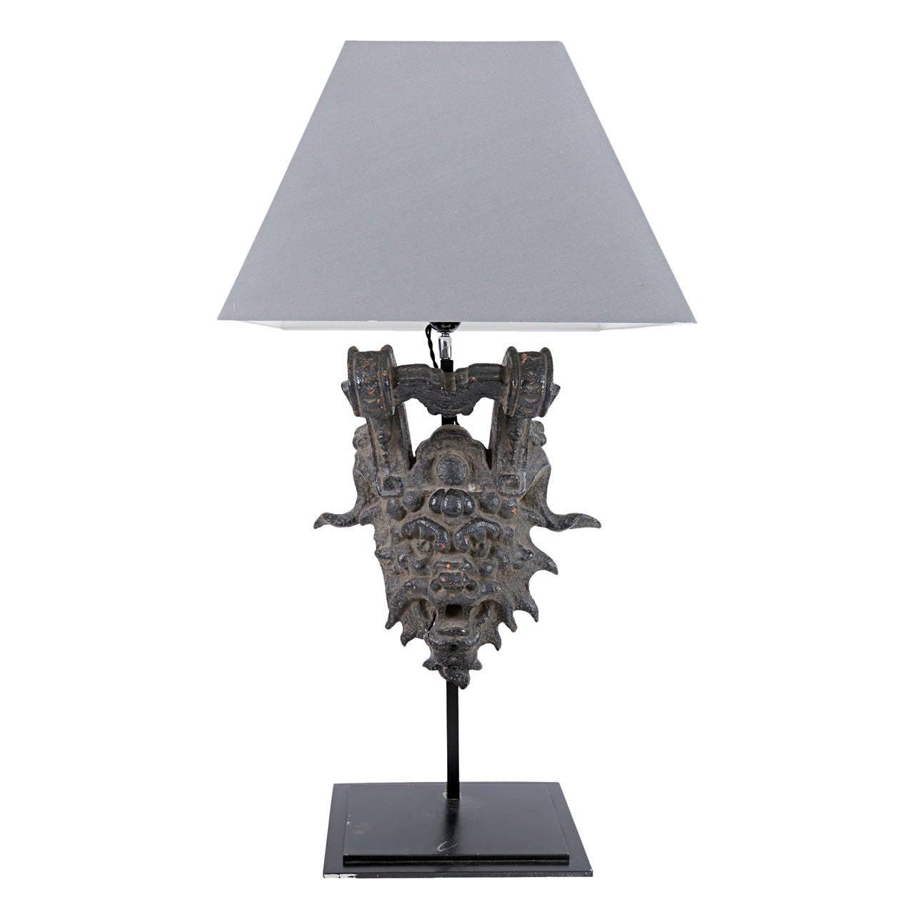 19th Century Iron Mask Lamp