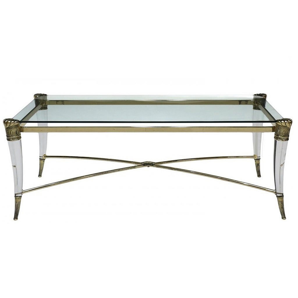 Italian lucite and brass coffee table at 1stdibs for Lucite and brass coffee table