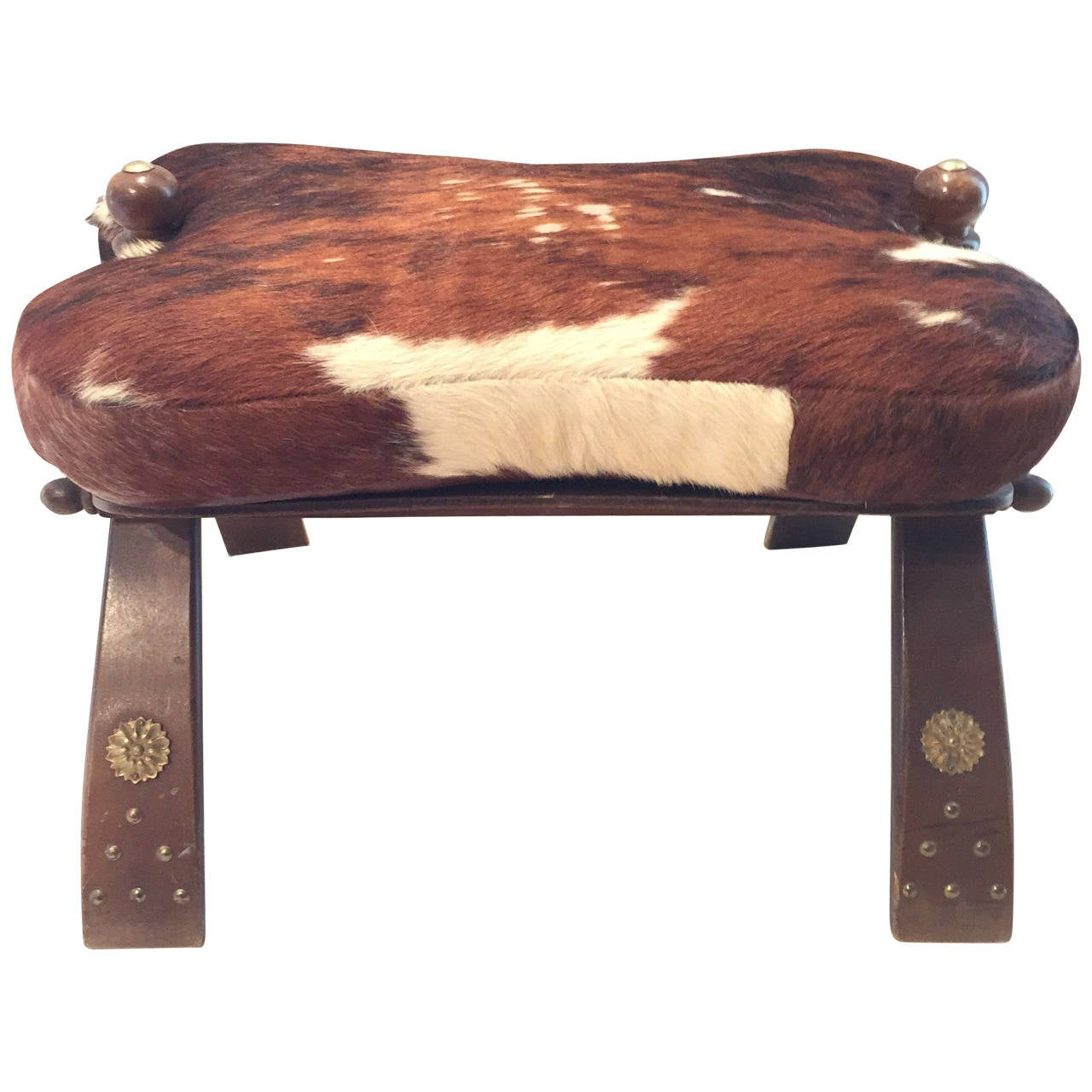 Camel Saddle Seat With Hair On Hide Leather At 1stdibs