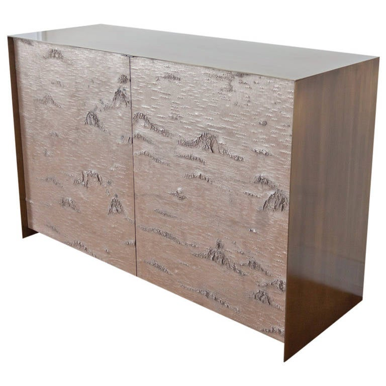 Exceptional Bronze Birch Bark Doors, Bronze Credenza 1