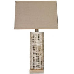 Tall Basket Weave Lamp, White