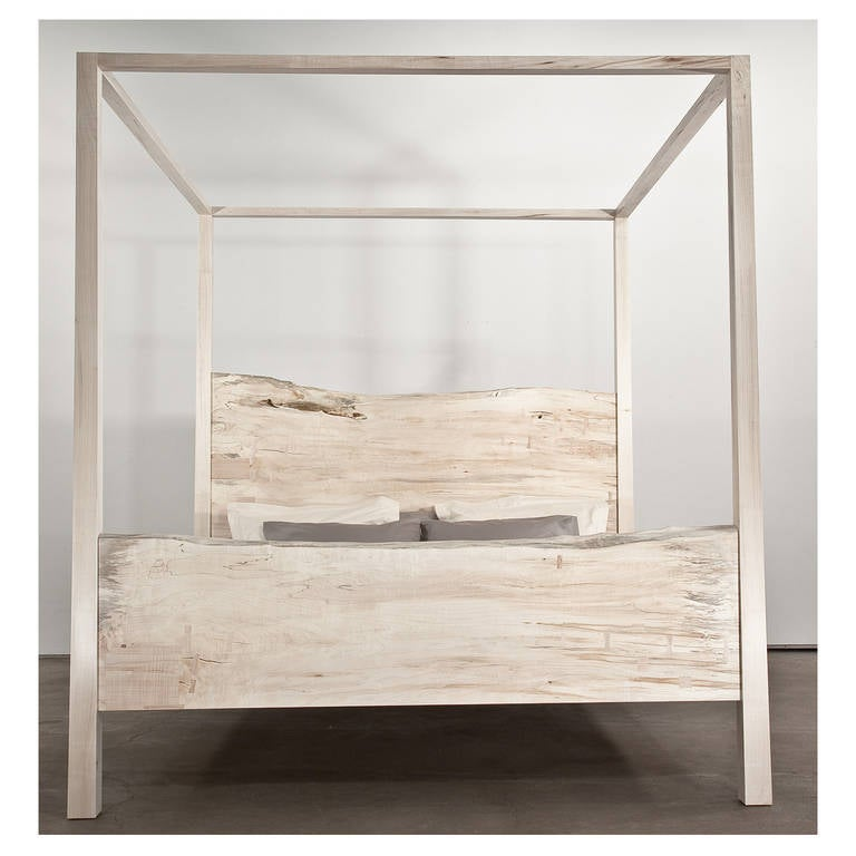 King Canopy Bed, Solid Maple For Sale at 1stdibs