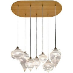 Alabaster Rock Chandelier with Wood Canopy