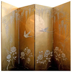 Moonlight Screen with a Scene of Lyrical Birds and Luscious Roses
