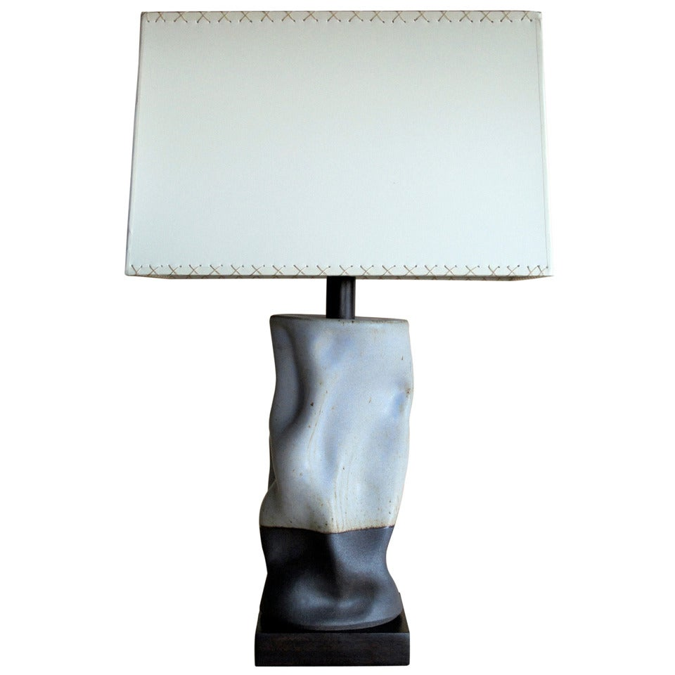 tall undulating cylinder lamp in lavender glaze for sale at 1stdibs. Black Bedroom Furniture Sets. Home Design Ideas
