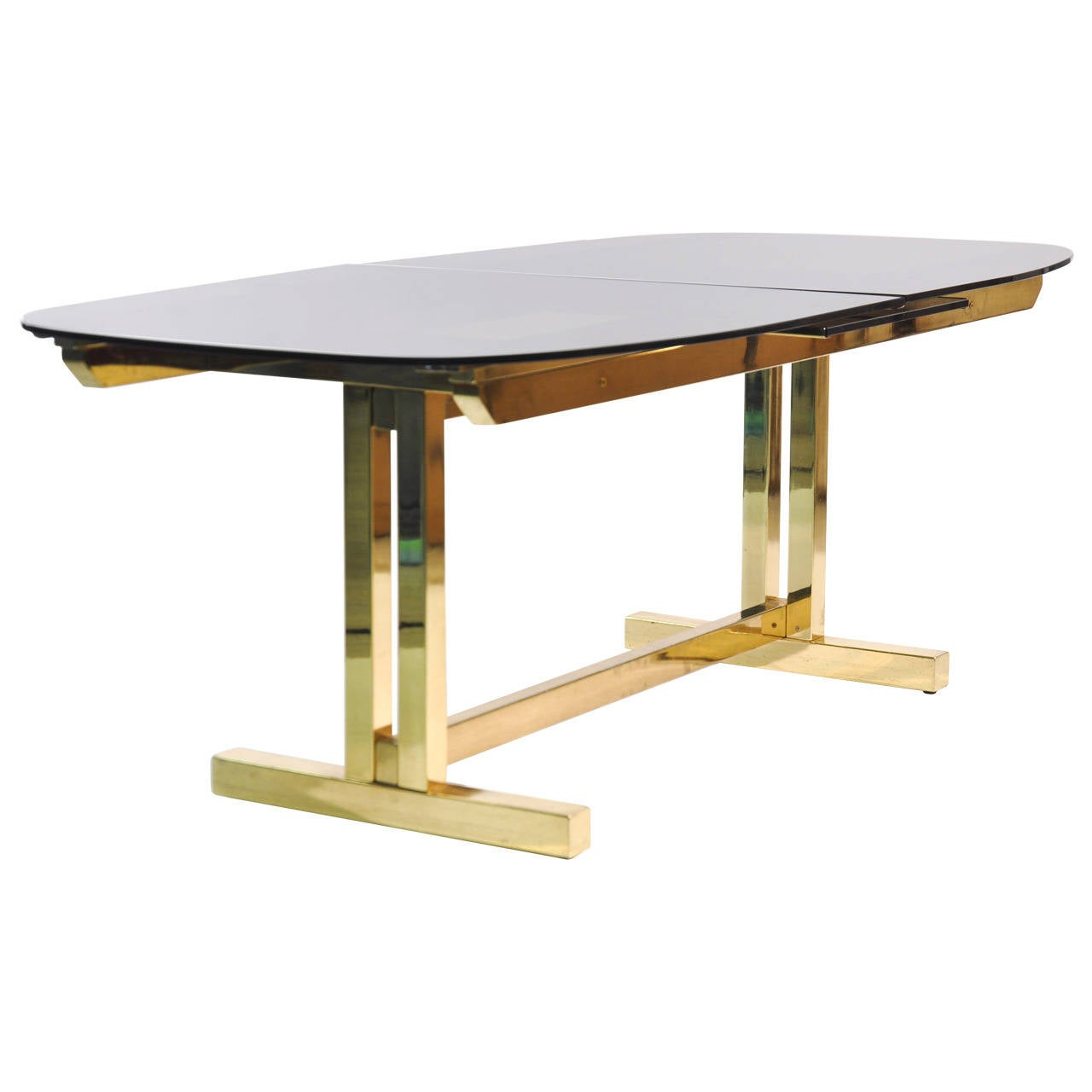 Smoked glass extendable brass dining table at 1stdibs for Extendable glass dining table