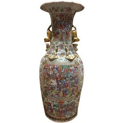 19th Century, Chinese Single Large Canton Vase with Lion Handles