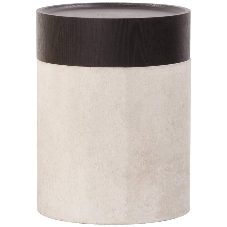 TOTEM Contemporary Side Table in Concrete & Stained Black Oak by Estudio Persona