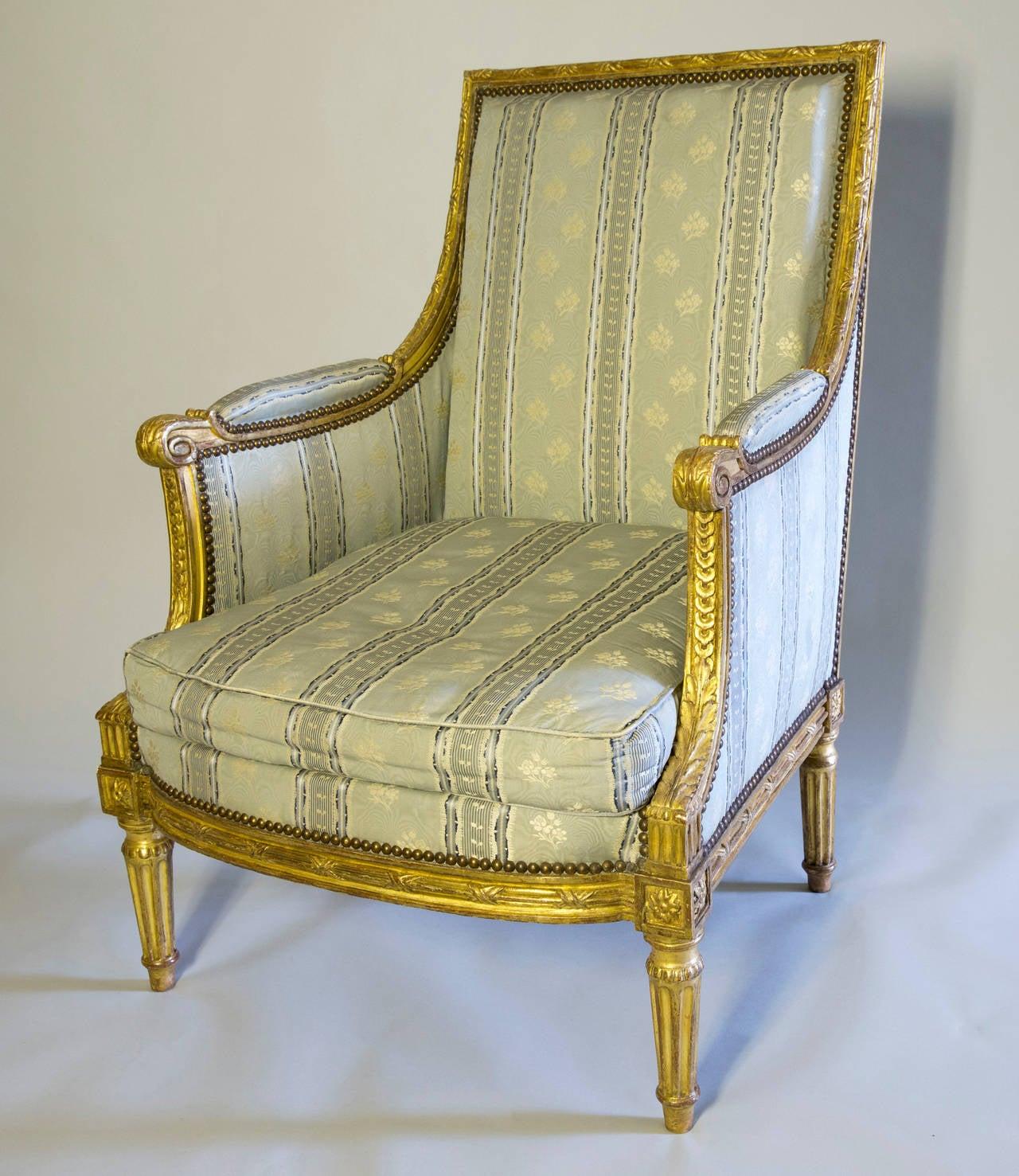 fine louis xvi gilded wood bergere at 1stdibs. Black Bedroom Furniture Sets. Home Design Ideas