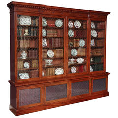 Large Regency Mahogany Breakfront Bookcase