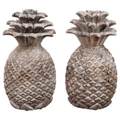 Pair of Large 19th Century Pineapple Finials