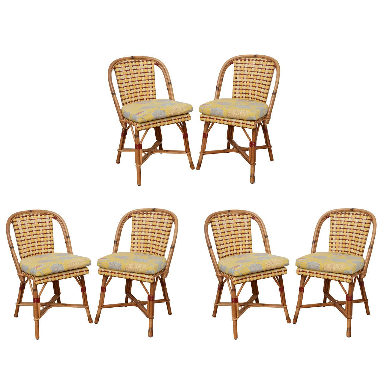 Set Of Six French Rattan And Caned Alma Cafe Chairs By Maison Dru