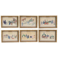 Set of 19th Century Chinese Export Pith Watercolors