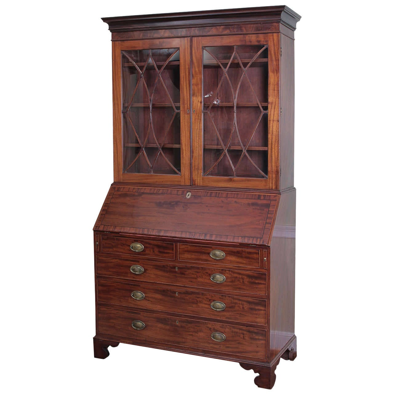 richly hued george iii mahogany bureau bookcase for sale at 1stdibs. Black Bedroom Furniture Sets. Home Design Ideas