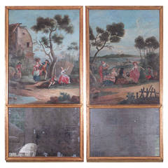 Pair of Louis XVI Giltwood Trumeau Mirrors