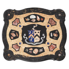 Rare Irish Armorial Pietra Dura Low Table with Seashells