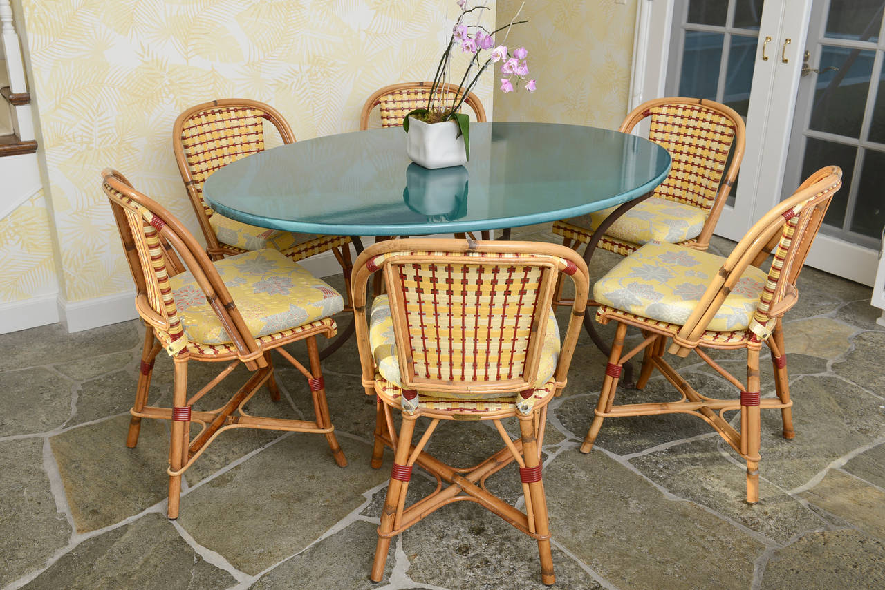 Set Of Six French Rattan And Caned Quot Alma Quot Cafe Chairs By