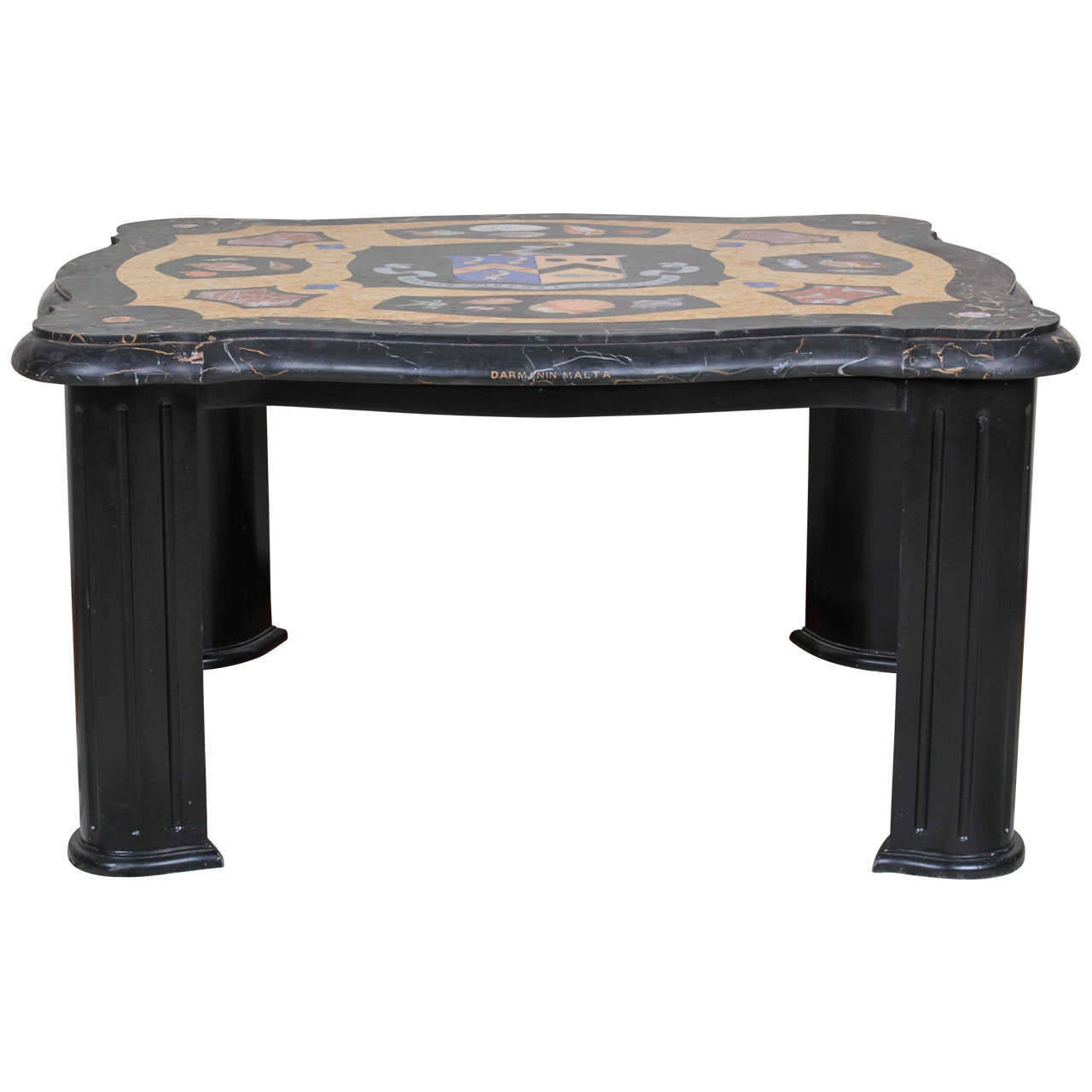 Rare Irish Armorial Pietra Dura Low Table With Seashells