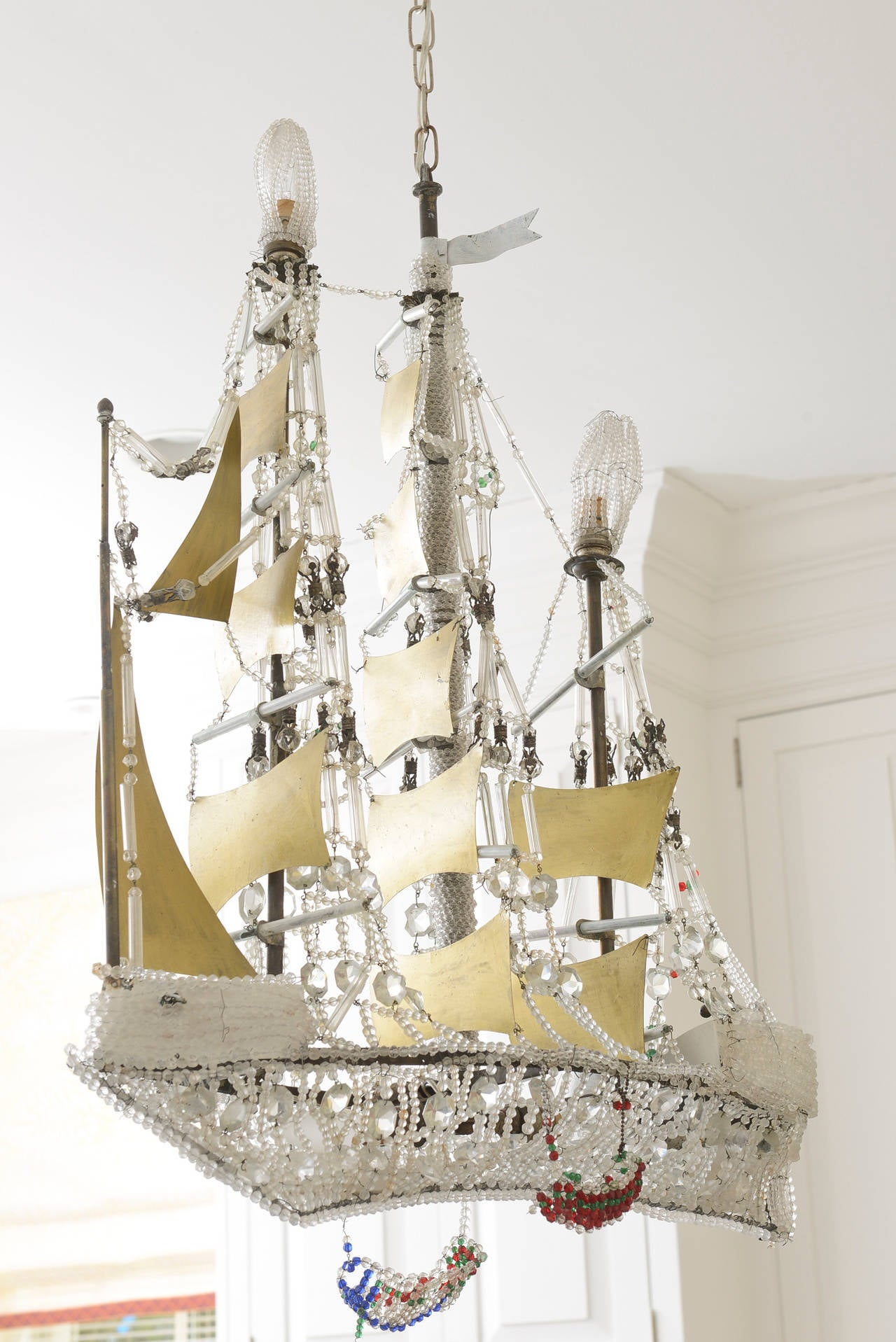 Crystal Beaded and Brass Galleon Ship Chandelier at 1stdibs