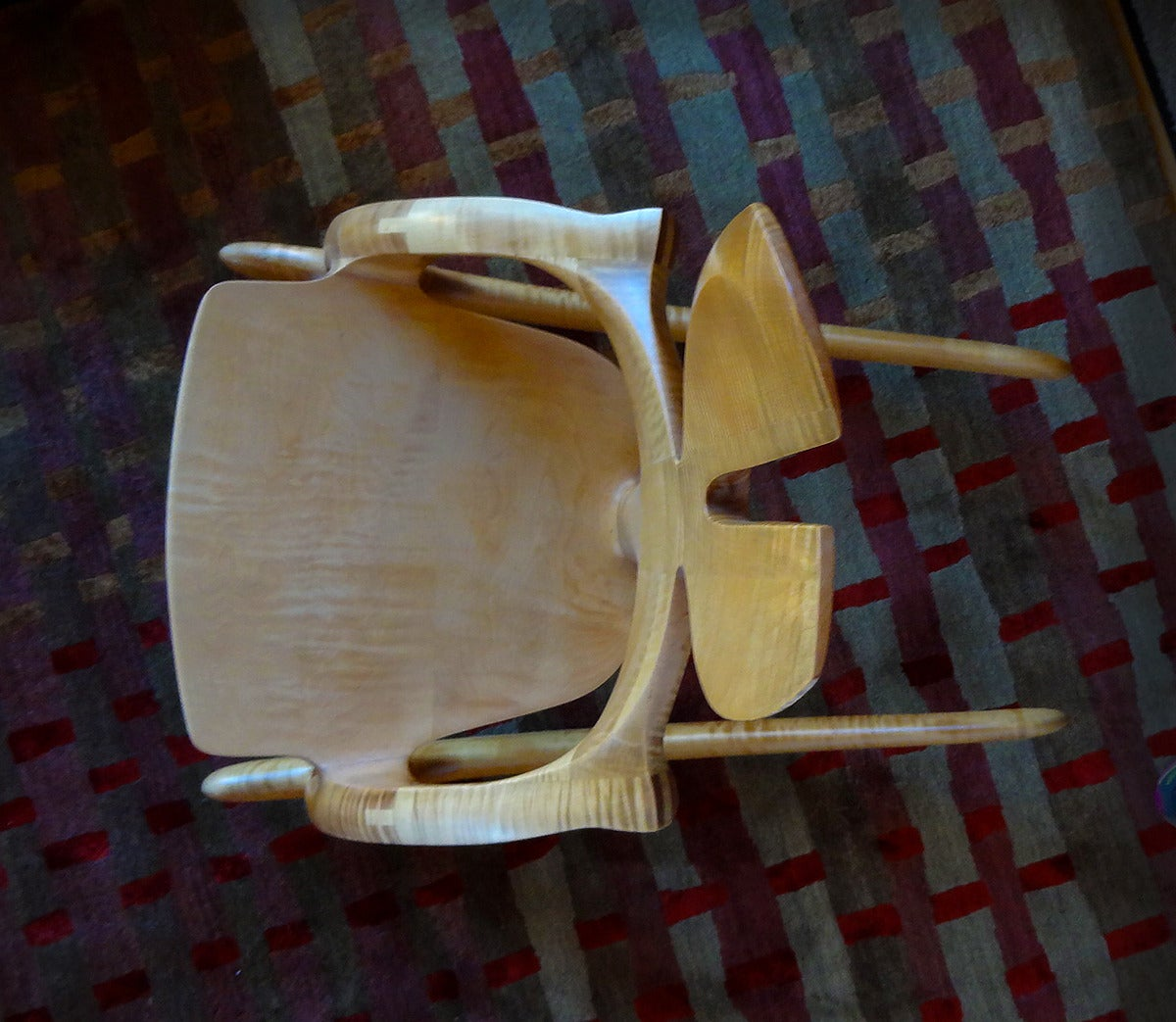 Post-Modern Rare Wendell Castle Tiger Maple Rabbit Ear Rocker For Sale