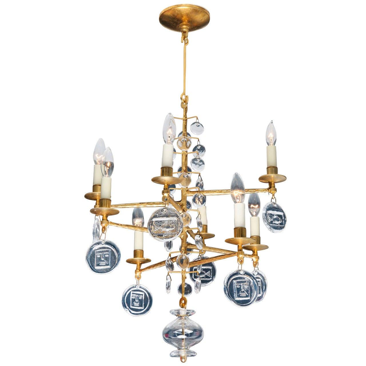 Swedish gilt iron and glass chandelier by erik hoglund at 1stdibs swedish gilt iron and glass chandelier by erik hoglund 1 arubaitofo Gallery