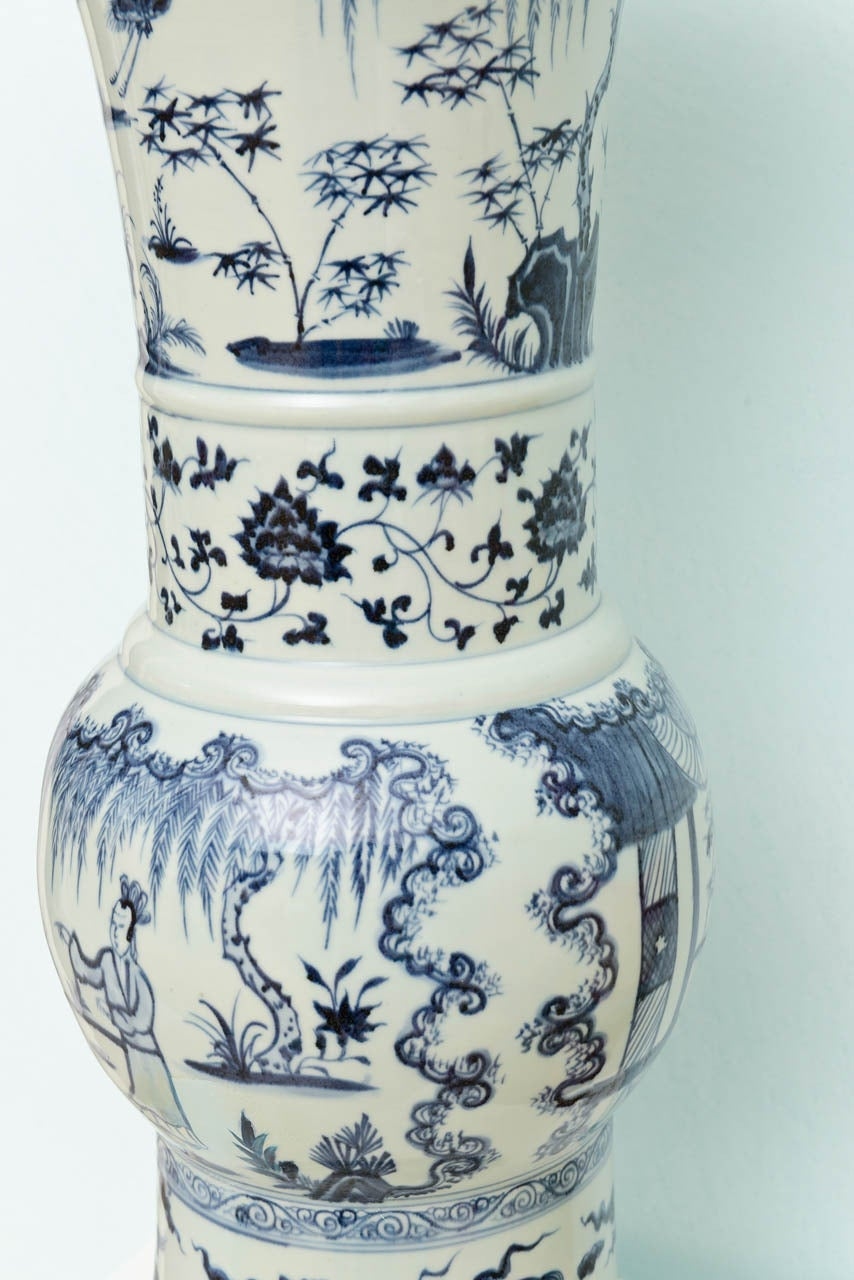 Large Pair Of Chinese Porcelain Blue And White Beaker