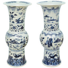 Large Pair of Chinese Porcelain Blue and White Beaker Vases
