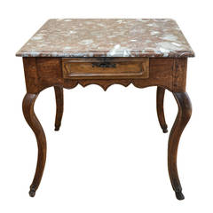 Louis XV Marble-Top Chestnut Table with Pied De Biche