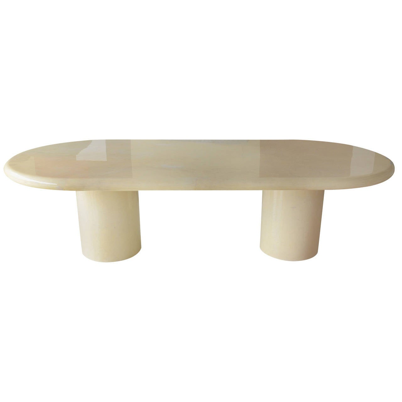 Lacquered Karl Springer Style Goatskin Oval Dining Table