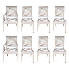 Set Of Eight Hollywood Regency Lacquer Dining Chairs By J. Robert Scott