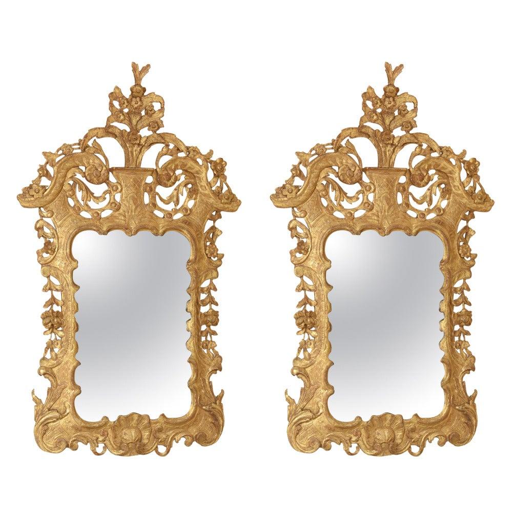 Pair of 18th Century Irish George II Giltwood Pier Mirrors