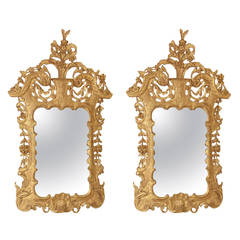 Pair of 18th Century Irish George II Giltwood Pier Mirrors
