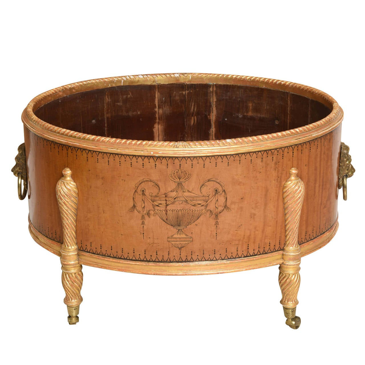 Large Adam Style Satinwood and Gilt Cellaret or Jardiniere