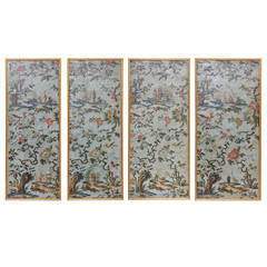 Set of Four 18th Century Italian Chinoiserie Oil on Canvas Paintings