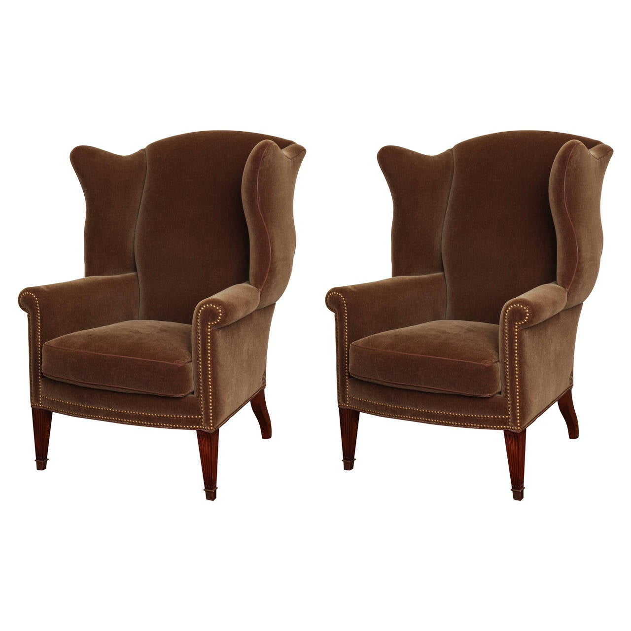 Pair of George III Style Mahogany Wing Chairs at 1stdibs