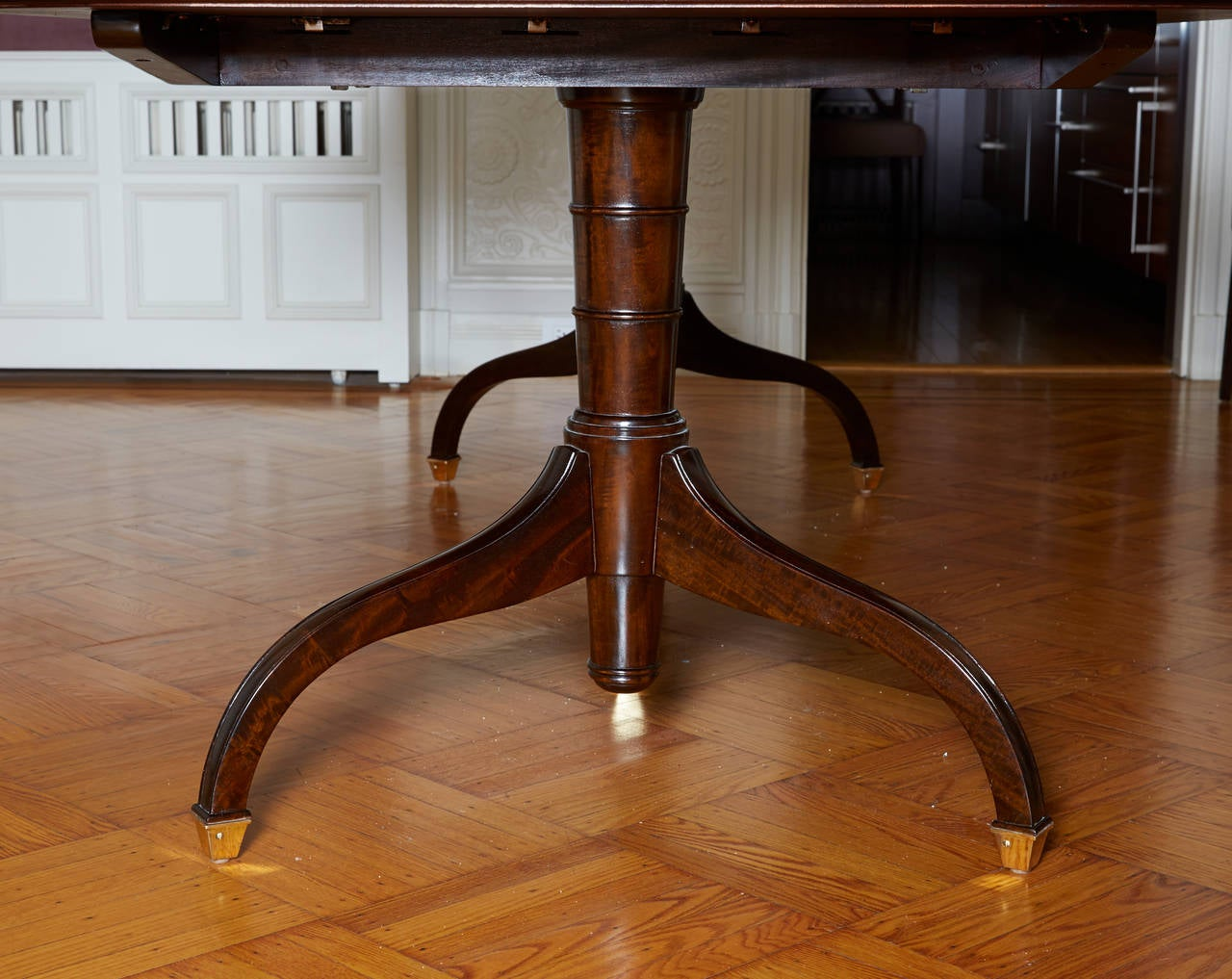 Regency Style Mahogany Extending Two Pedestal Table For
